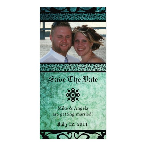 Save the Date Green Ornate Damask Photocard Personalized Photo Card