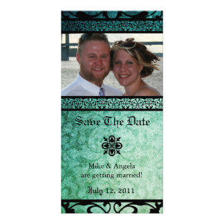 Save the Date Green Ornate Damask Photocard Picture Card