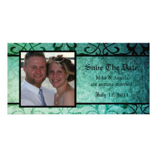 Save the Date Green Ornate Damask Photocard Photo Cards