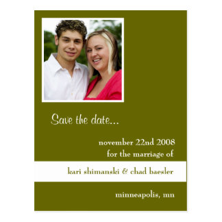 save the date green postcard