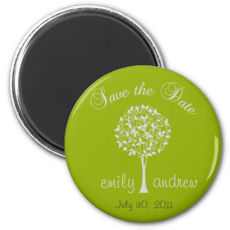 Save the Date Green Tree Magnet