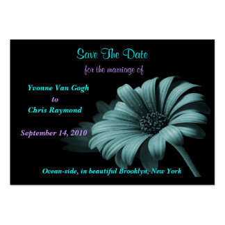Save The Date Grey Blue Daisy Business Card Template