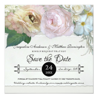 Save the Date Grey Ombre Flowers Peony Roses Card