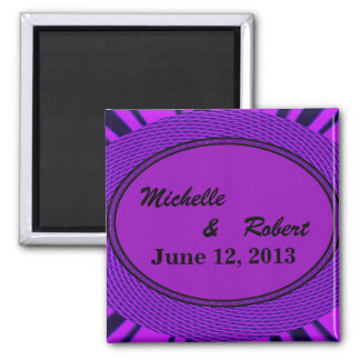 Save the Date Groovy Purple Abstract Fridge Magnets