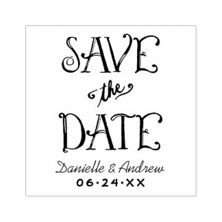 Save the Date | Handwritten Script Rubber Stamp