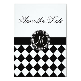 Save the Date Harlequin Pattern and Monogram Card