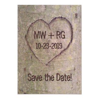 Save the Date, Heart Carved in Tree Announcement