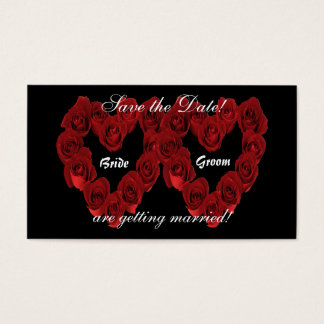 Save the Date - Heart of Red Roses.. Business Card