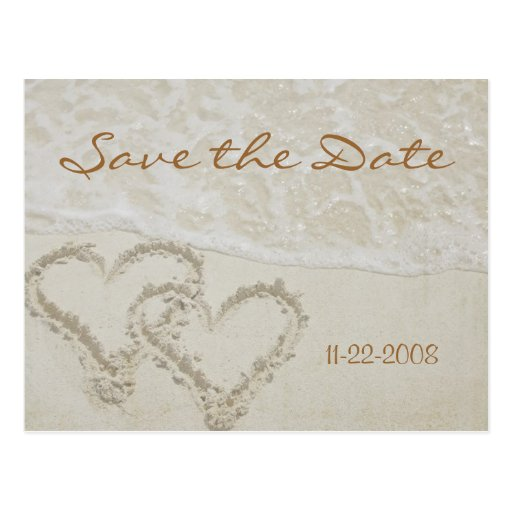 Save the Date heart waves Post Card