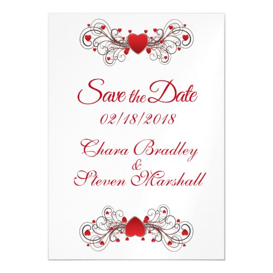 Save the Date Hearts Magnetic Card