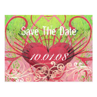 Save The Date - Hearts & Swirls Postcard