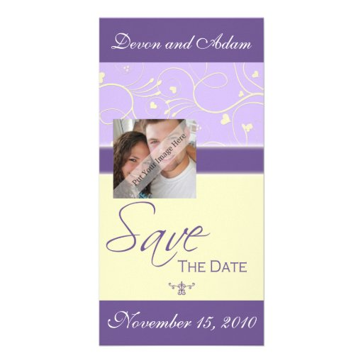 Save the Date Hearts & Swirls Wedding Photo Card