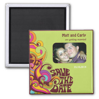 Save the Date Hippy Photo Magnet