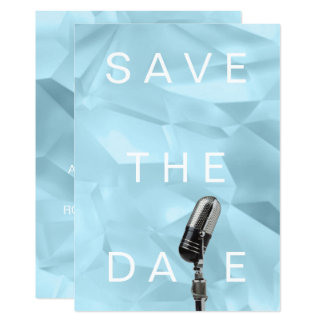 Save The Date Ice Crystals Cubic Blue Pastel Aqua Card