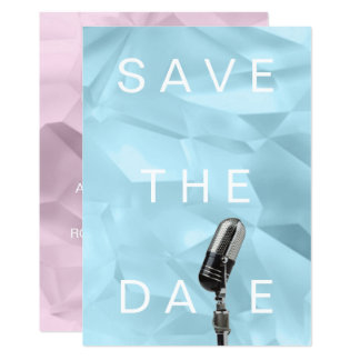 Save The Date Ice Crystals Cubic Purple Blue Lavan Card
