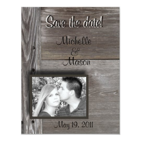 Save the date! in Barn wood Card