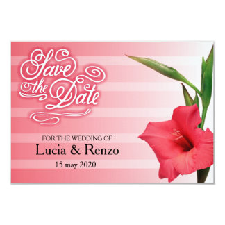 Save the date, in shades of red with flower card