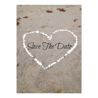 Save The Date in Shell Heart 5.5x7.5 Paper Invitation Card