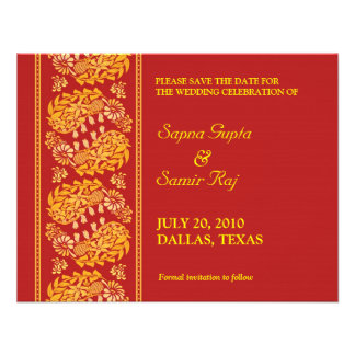 Save The Date Indian Style Card Custom Announcement