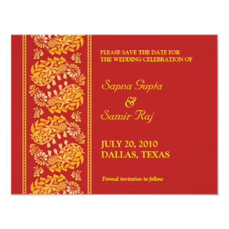 Save The Date Indian Style Card 11 Cm X 14 Cm Invitation Card