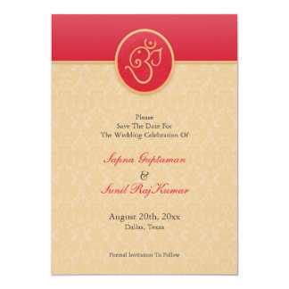 Save The Date Indian Style Flat Card 13 Cm X 18 Cm Invitation Card