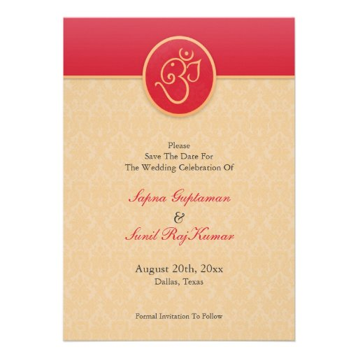Save The Date Indian Style Flat Card Personalized Invite