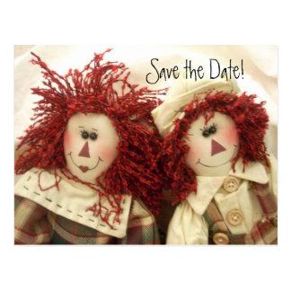 Save the Date Invitation Poastcards Raggedy Dolls Postcard