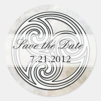 Save the Date  Irish Celtic Knot Invitation Seals Round Sticker