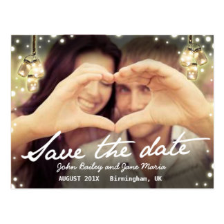 Save the Date Jam Jar Light Rustic Postcard