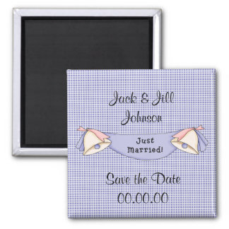 Save the Date Just Married Blue Magnet