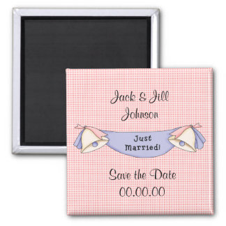 Save the Date Just Married Pink Magnet