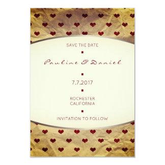 Save The Date Kraft Old Kart Glitter Hearts Bugund Card