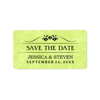 Save the Date Label - Bright Green Fancy Floral Address Label