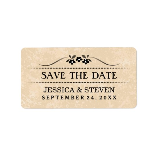 Save the Date Label - Gold Fancy Floral
