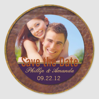Save the date label modern casual round sticker