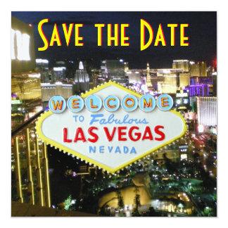 "Save the Date Las Vegas Weddings 5.25"" Square Invitation Card"