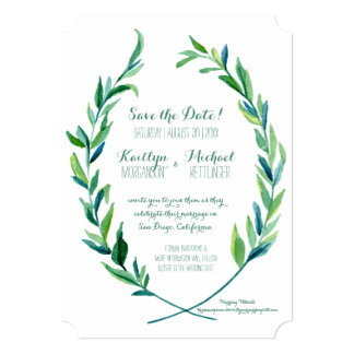 Save the Date Laurel Wreath Olive Leaf Branch Art 13 Cm X 18 Cm Invitation Card