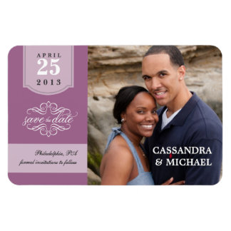 Save the Date - Lavender Custom Photo Magnet Vinyl Magnets