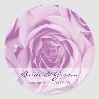 Save the Date lilac roses Wedding Stickers