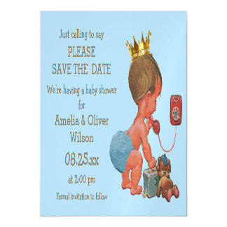 Save The Date Little Prince on Phone Gray Blue Magnetic Invitations