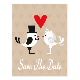 Save The Date Lovebirds & Hearts Tan Postcard