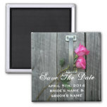 Save The Date Magnet - Barn Door Hot Pink Roses