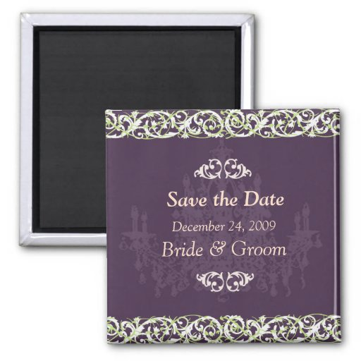 Save the Date Magnet, chandelier + vine