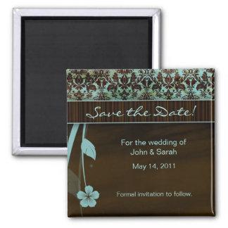 Save the Date Magnet floral damask blue brown