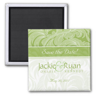Save the Date Magnet Floral Leaf Lime Green