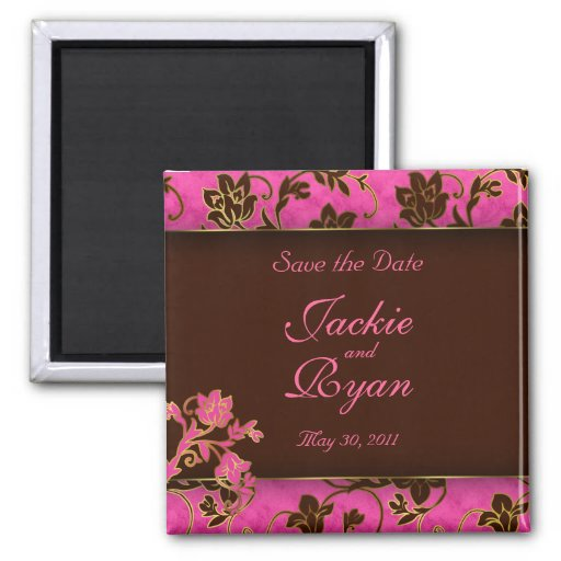 Save the Date Magnet Gold Floral Pink Brown
