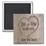 Save the Date Magnet, Heart Carved in Tree