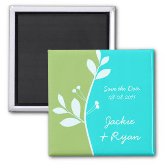 Save the Date Magnet Leaf berries lime green