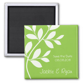 Save the Date Magnet Leaf Branch Lime Green