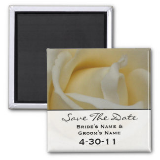 Save The Date Magnet - Off White Rose
